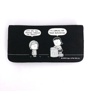 Angry Little Asian Girl Goth Punk 90s 2000s Comic Reputation Black Bifold Wallet