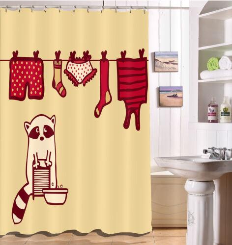 Raccoon Washing Clothes Bathroom /& Hooks Waterproof Fabric Shower Curtain Set
