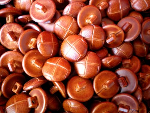 FB4 Small 15mm 24L Tan Brown Leather Effect Aran Football Quality Shank Buttons