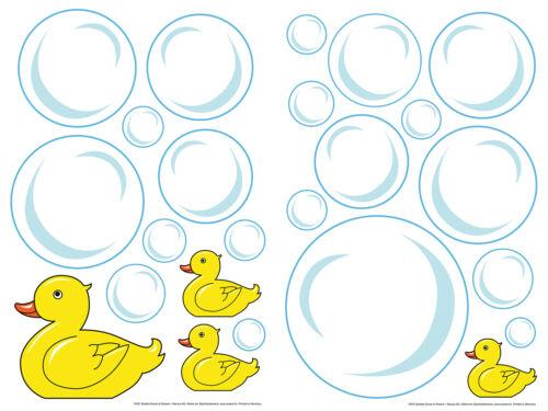 Mural sticker autocollant Bubble Ducks canards enfants bulles de savon jaune 85x40cm