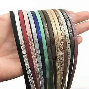 1m 5mm Flat PU Leather Cord Rope Diy Jewelry Findings Accessories Making Fashion