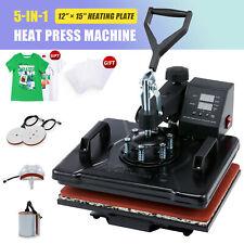 5 In1 Heat Press Machine 360swing Away T Shirt Printing Press 12x15 Cap Hat Mug