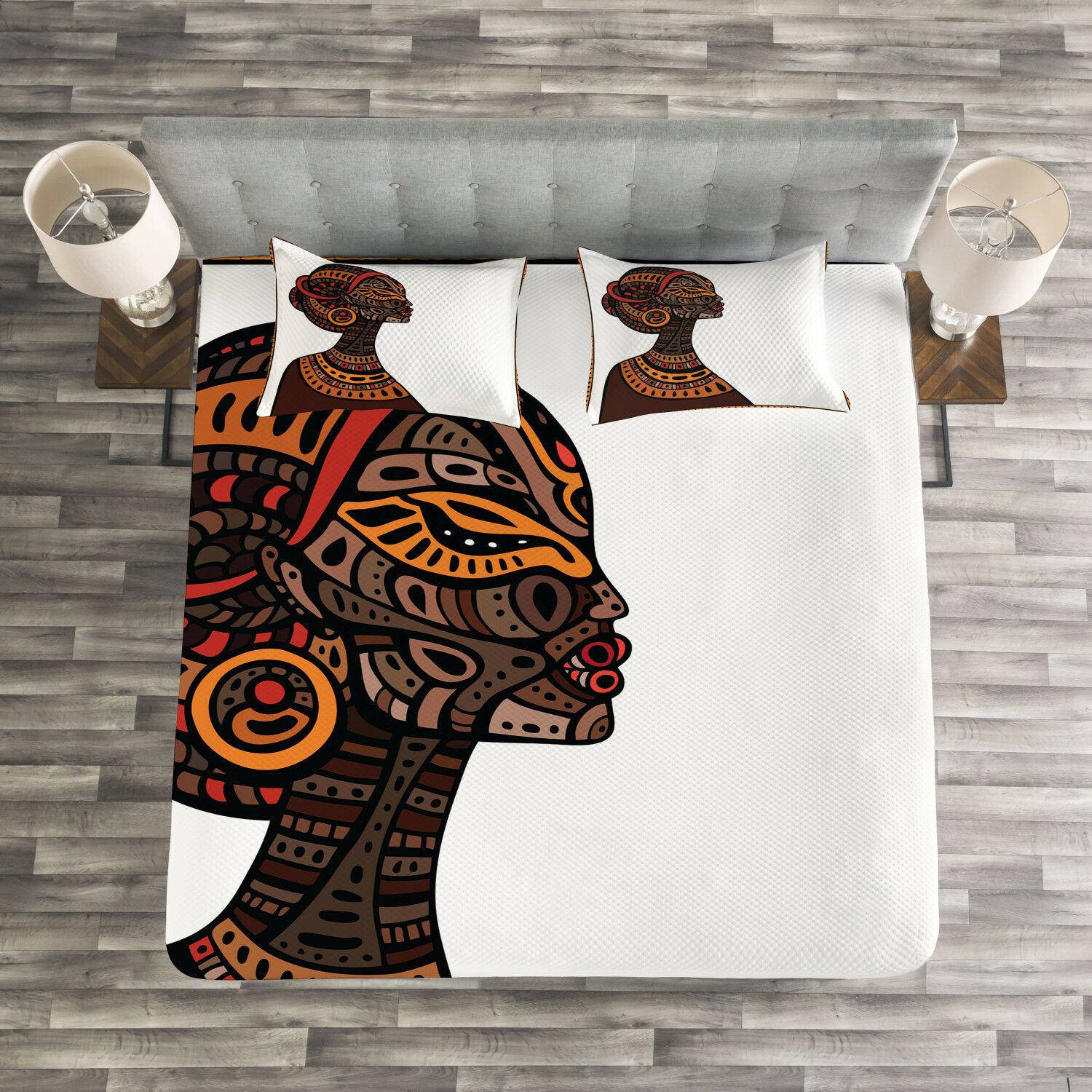 Afro Quilted Bedspread & Pillow Shams Set, Tribal Exotic Totem Mask Print