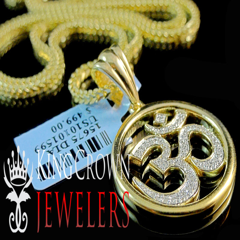 Mens Ladies Real Diamond OM Symbol Hindu Pendant Charm Chain Set 10K gold Finish