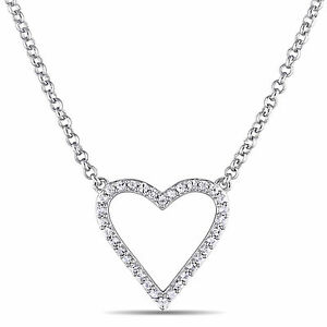 "Amour Sterling Silver Sapphire Heart Pendant Necklace 18"" Chain"