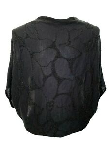 DRIES VAN NOTEN BLACK SILK BEADED ARM WARMER CARDIGAN, ONE SIZE
