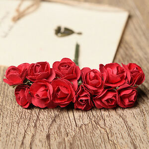 12 mini paper flowers rose with wire bendy stem card making ebay image is loading 12 mini paper flowers rose with wire bendy mightylinksfo
