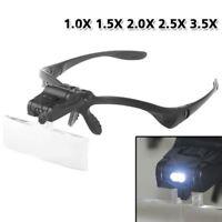 Fashion 5 Lens Head Band Magnifier Glass Visor 2-LED Light Magnifying Loupe UEB
