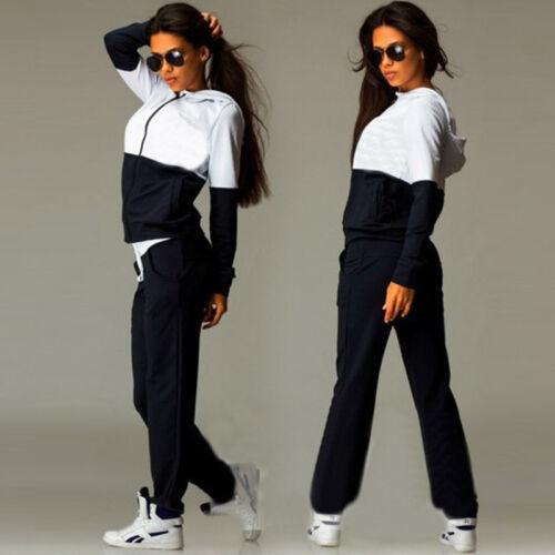 2Pcs Womens Tracksuit Hoodies Sweatshirt Pants Sets Sport Wear Lounge Suit 6-12