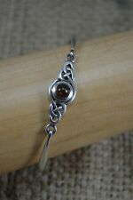 VINTAGE KIT HEATH 98 sterling silver and amber Celtic bangle bracelet 17mm
