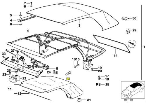 BMW E36 Convertible Soft Top Trim Clip Rivet 8118944 54348118944
