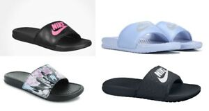 Nike-Womens-Benassi-JDI-Slippers-Slide-Sandals-Black-Pink-or-White-Topaz
