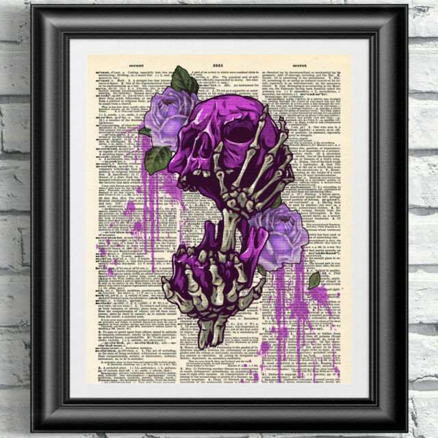 Art print on dictionary book page Gothic Romantic Skull and roses Wall hangings