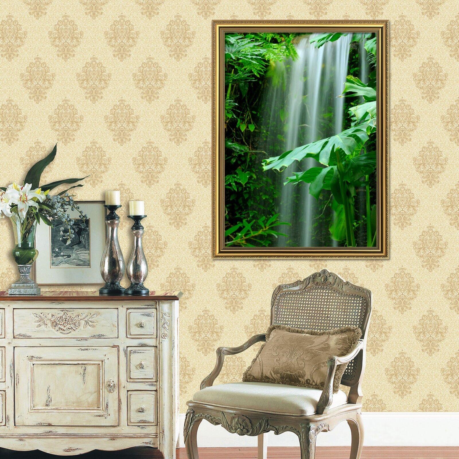 3D Forest Waterfall 5 Póster Enmarcado Decoración del Hogar Pintura de Impresión Arte AJ