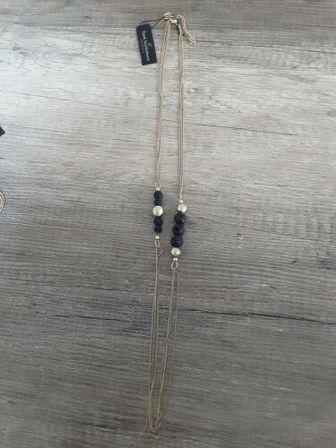 Dansk Smykkekunst lang kurz Halskette Kette Ohrhänger vergoldet schwarz Lava NEU