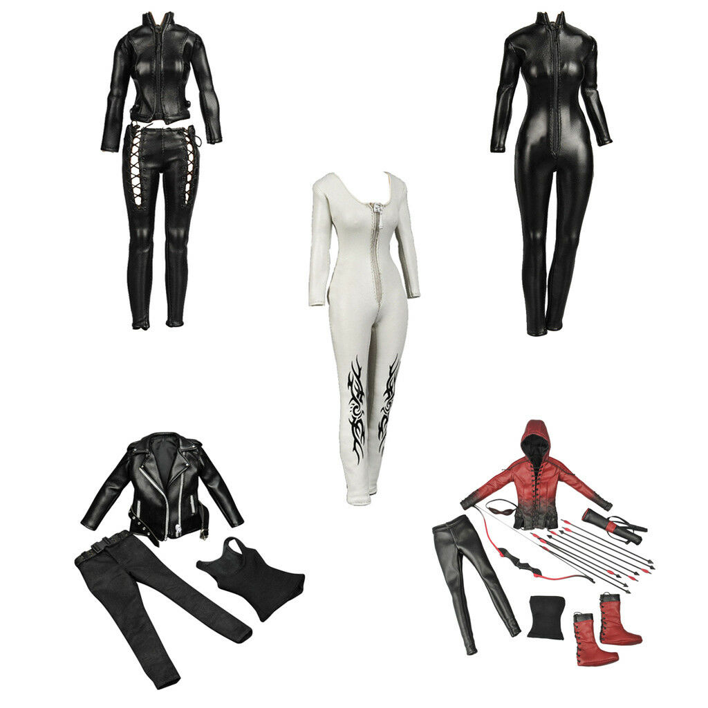 1 6th Scale Faux Leather Outfits Clothes Suit For 12'' Hot Toys Sideshow Female