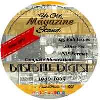 Baseball Digest 1940-1963 145 Issues Vintage Magazine Book Memorabilia Old Lot