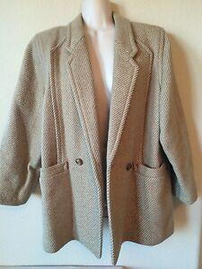 Beige-Tan-Striped-3-4-Sleeve-Wool-Lined-Women-039-s-Coat-Jacket-Size-L