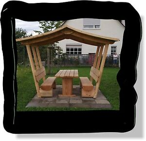 sitzgruppe aus holz pavillon gartenm be mit dach sitzm bel gartenbank ebay. Black Bedroom Furniture Sets. Home Design Ideas