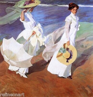 Joaquín Sorolla y Bastida Walk on the Beach  Giclee Canvas Print