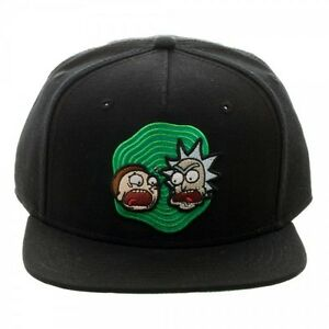 995866784e9 OFFICIAL RICK AND MORTY BLACK SNAPBACK CAP WITH PRINTER VISOR (BRAND ...