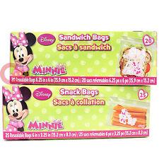 Disney Minnie Mouse 45pc Sandwich Snack Bags Set Lunch Food Zip Bag
