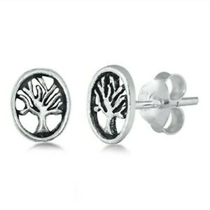 Tree-of-Life-Stud-Earrings-Genuine-Sterling-Silver-925-Gift-Product-Height-7-mm