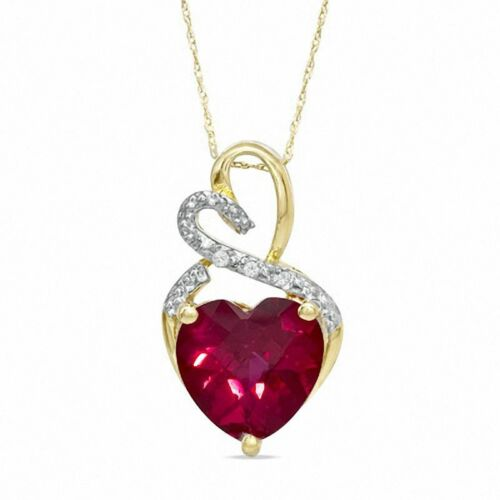 Diamond Accent /& Created Ruby Gemstone Birthstone Heart Pendant 10K Yellow Gold