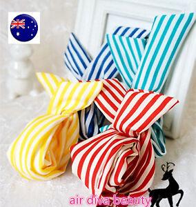 Women-Lady-Kid-Girl-striped-Wire-Bunny-Ear-adjustable-bow-scarf-Hair-head-band