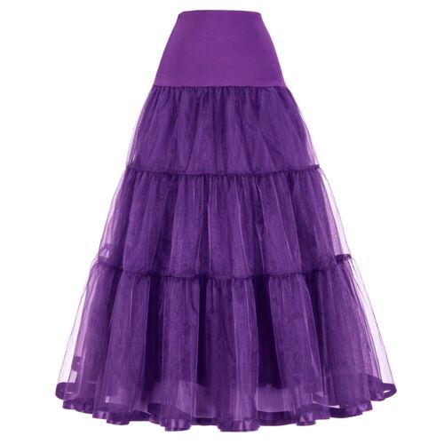 Women Casual High Rise Retro Dress Vintage Dress Petticoats Long Skirt