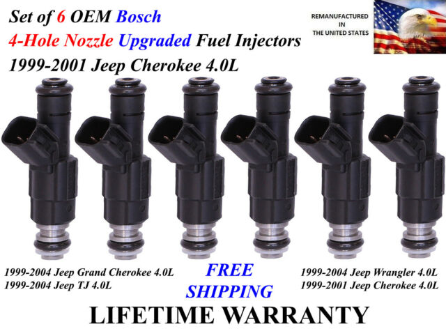 SET OF 6 BOSCH 4 HOLE NOZZLE FUEL INJECTOR UPGRADE 1999-2001 JEEP CHEROKEE 4.0L
