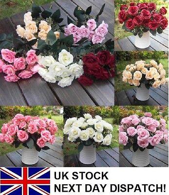 Artificial Rose Silk Flowers 12 Flower Head Floral Wedding Garden Decoration