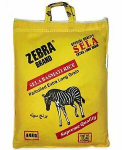 Zebra Brand XXL Sela Basmarti Rice Parboiled Extra Long Grain Kernel 10 lb Bag .