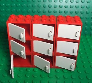 Lego X9 New Red Cupboard Container With White Doors / Kitchen / Garage Cabinet