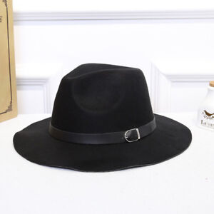 Fashion-New-Women-Classic-Jazz-Buckle-Fedora-British-Style-Outdoor-Cap-Top-Hats