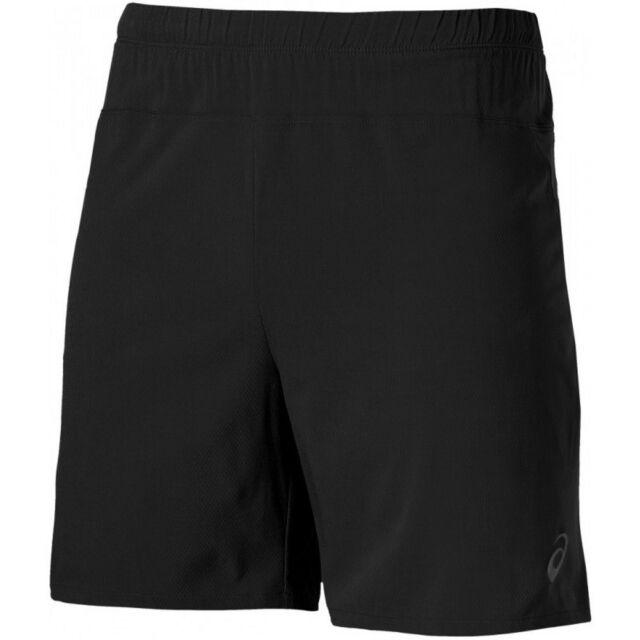 61036b76f3ac ASICS 7 Inch Mens Black Sports Running Training Stretch Shorts Pants ...