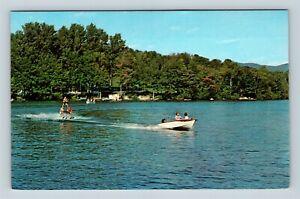 Chrome-View-of-Water-Skiing-Lake-Bomoseen-VT-Postcard-X27