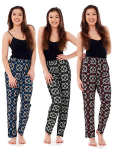 Ladies-Floral-Print-Trousers-Elasticated-Summer-Narrow-Leg-Harem-Tapered-Pants