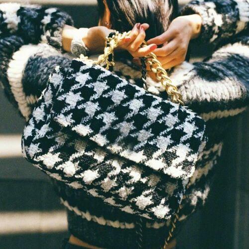 Women wool Flap Shoulder Messenger Bag Houndstooth Chain Large Capacity Handbags