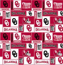 College University of Oklahoma Sooners Print Fleece Fabric by the yard #sou012s