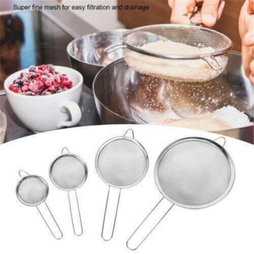 Kitchen Stainless Steel Wire Fine Mesh Oil Strainer Flour Colander Sifter Sieve❤