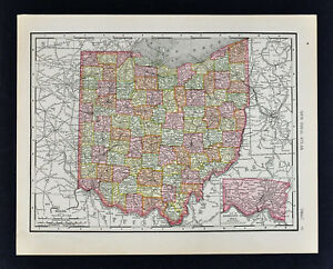 1911 Mapa Mcnally Ohio Cleveland Cincinnati Colon Youngstown Toledo