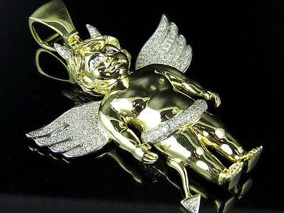 "10K Yellow Gold Devil's Assistant Genuine Diamond Pendant Charm 1.5Ct 2.5"""