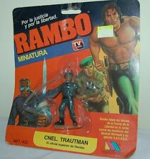VINTAGE RAMBO S.Stallone SAM TRAUTMAN RUBBER MINIATURE FIGURE BLISTER ARGENTINA