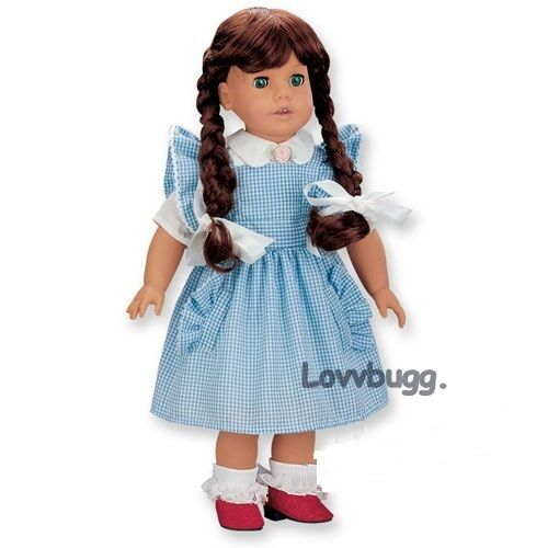 """Dorothy Wizard of Oz Costume for American Girl 18/"""" or Baby 15/"""" Doll Clothes"""