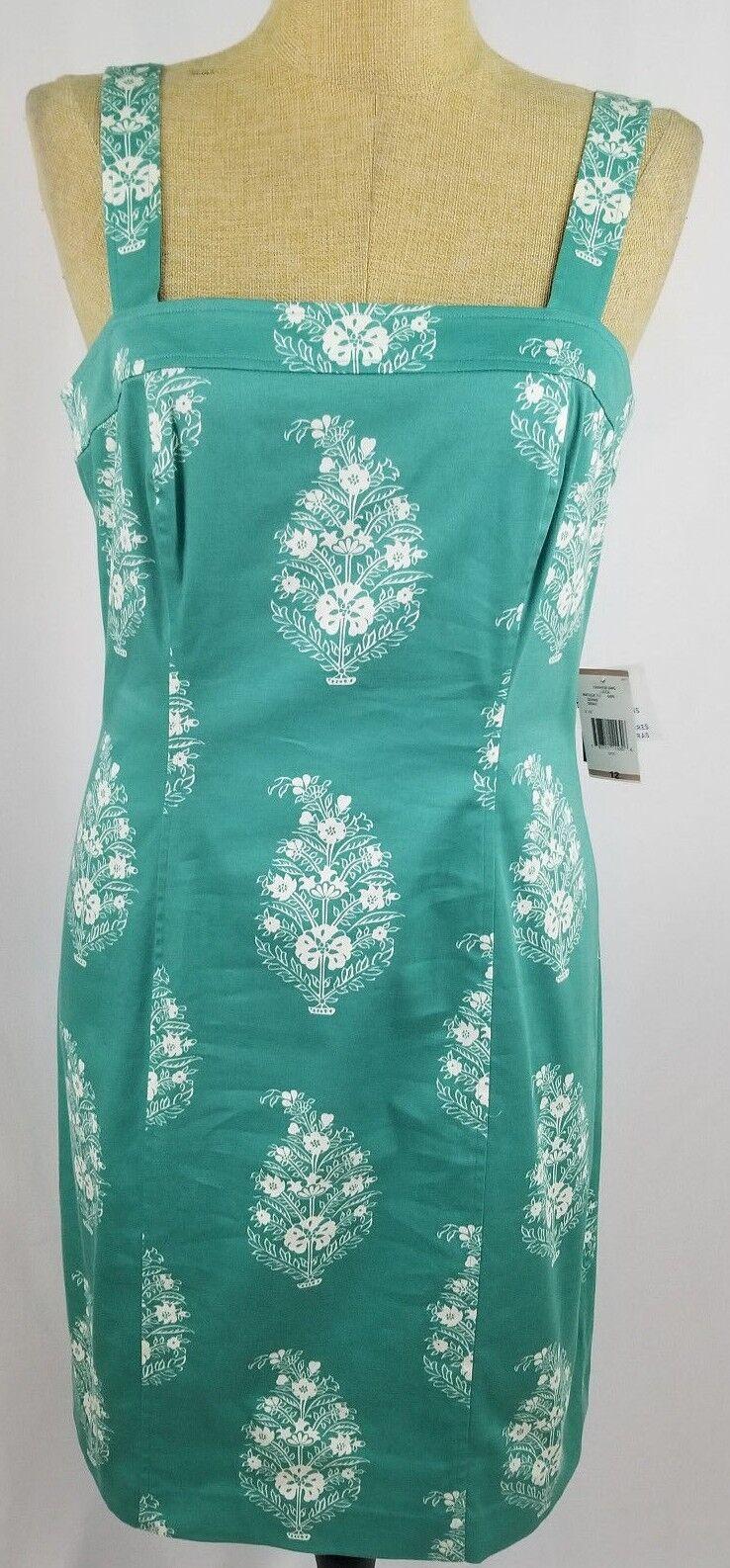 Jones New York Aqua Green Floral Sleeveless Dress Size 12 Sundress Unlined NWT