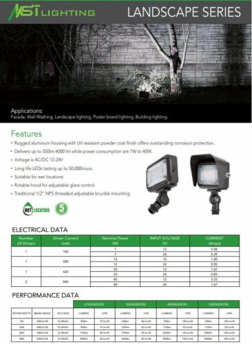 Work Light Wall Pack Landscape LED 40 Watt Flood Mount 12-24 Volt Fork Lift