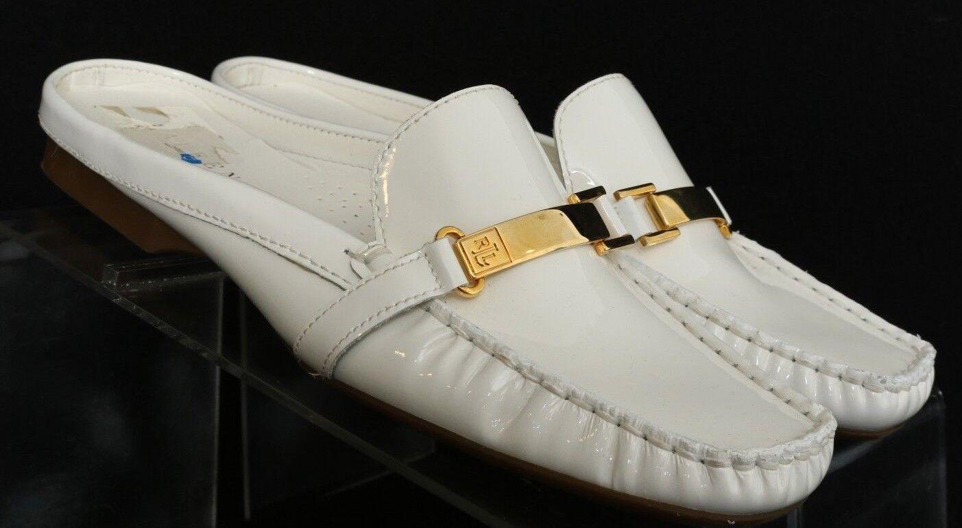 Ralph Lauren Calista White Moc Toe Slip On Mules ALW74550 Women's US 9.5 B