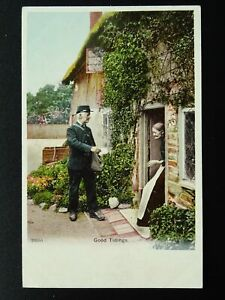 Country-Life-POSTMAN-DELIVERS-MAIL-TO-OLD-WOMEN-c1903-Postcard