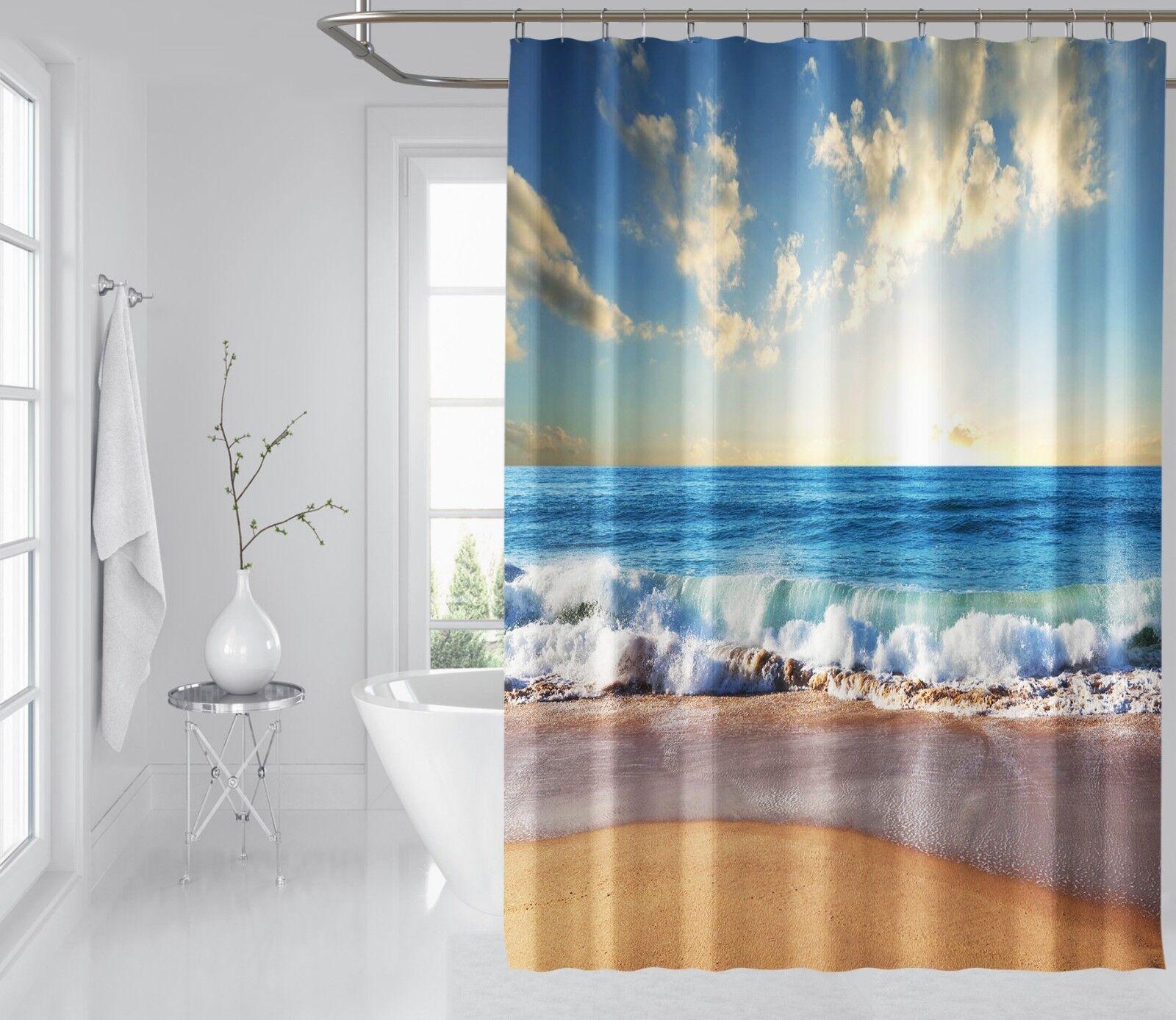 3D mer marée Bleu 55 Rideau de Douche Imperméable Fibre Salle de Bain Home Windows Toilette